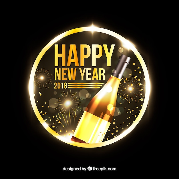 golden new year background with champagne free vector
