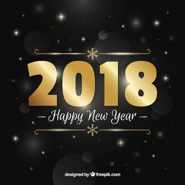 Golden new year background with classic style Free Vector