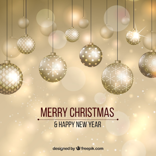 golden new year background with elegant balls free vector