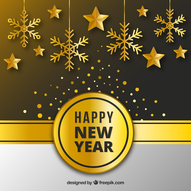 golden new year background with flat design free vector