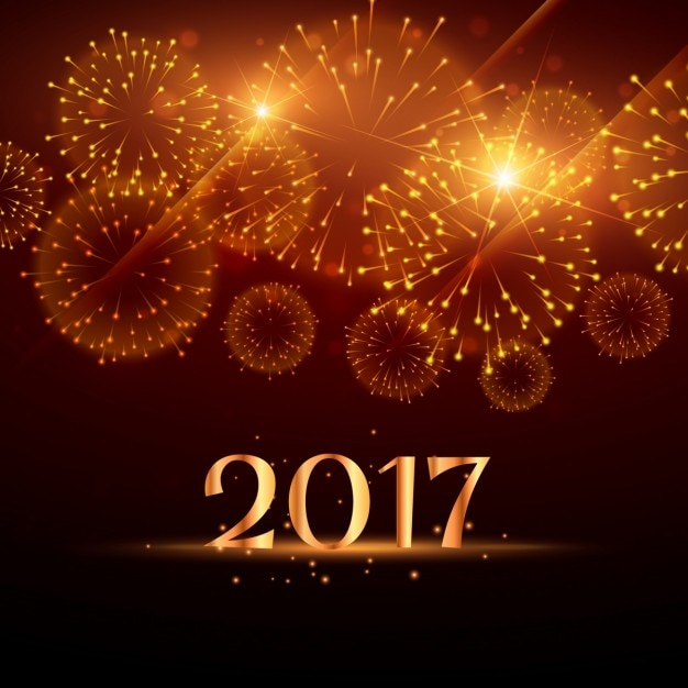 golden new year fireworks background free vector