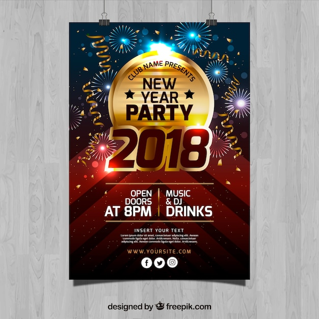 golden new year party flyer template free vector