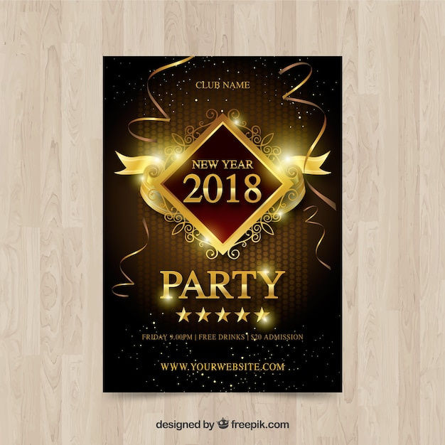 Golden new year poster Free Vector