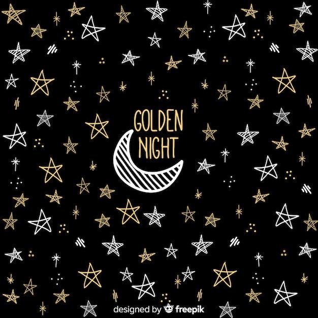 Golden night background Free Vector