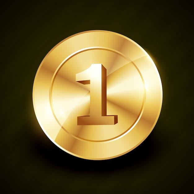 황금 번호 1 레이블 그림 프리미엄 벡터
