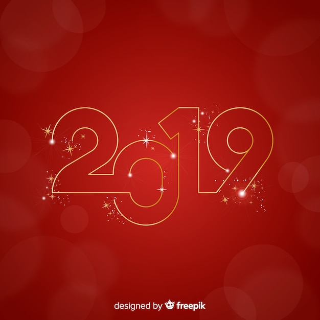 Golden number new year background Free Vector