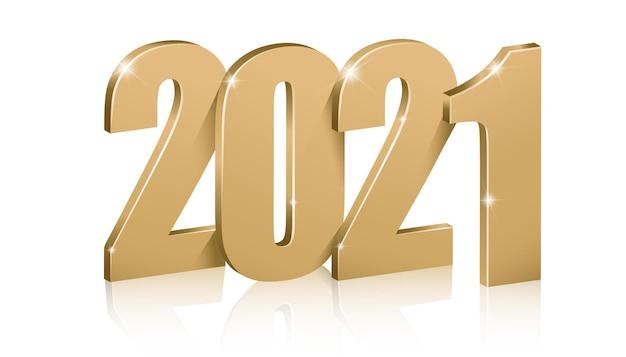 황금 숫자 2021, 새해 복 많이 받으세요. 무료 벡터