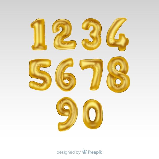 Golden numbers balloon set Free Vector