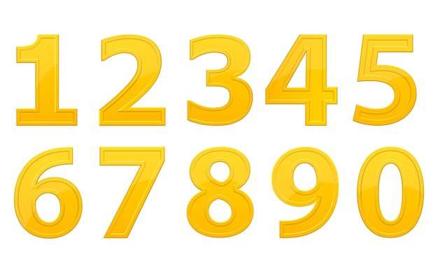 Golden numbers design illustration isolated on white background Premium Vector