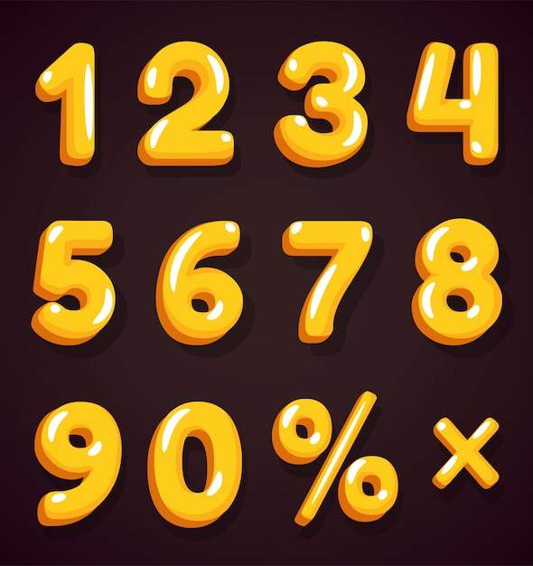 Golden numbers for discounted billboards that look beautiful. Premium Vector