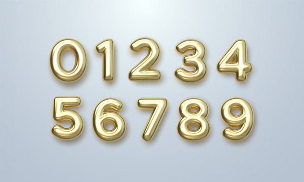 Golden numbers set. vector 3d illustration. realistic shiny characters. isolated digits. Premium Vec
