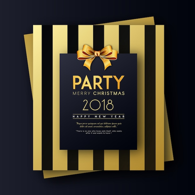 golden on black merry christmas and happy new year 2018 party invitation card premium vector