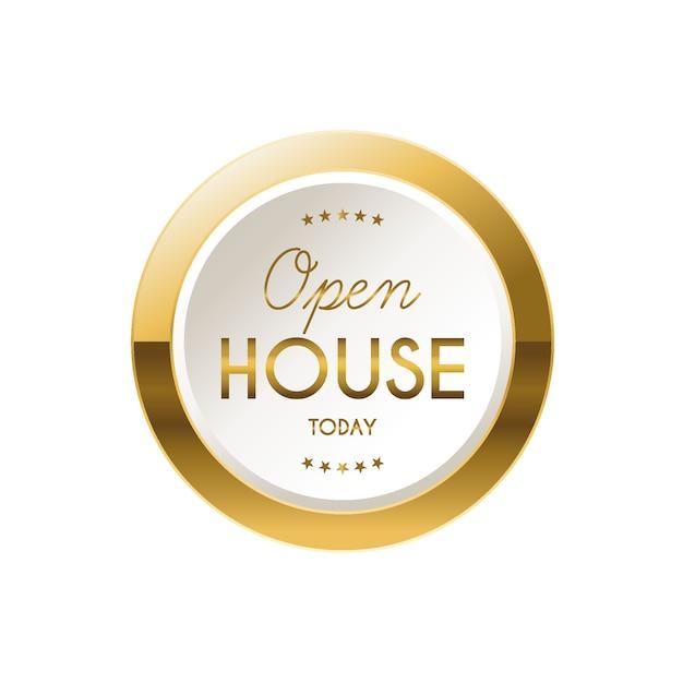 골든 오픈 하우스 라벨 무료 벡터