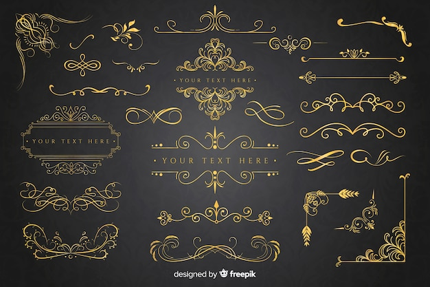 Golden ornament collection Free Vector