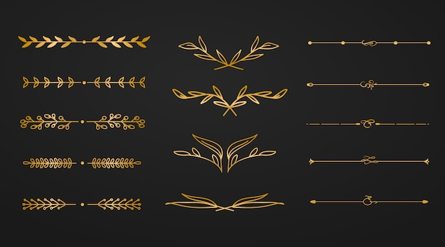 Golden ornament flower divider Premium Vector