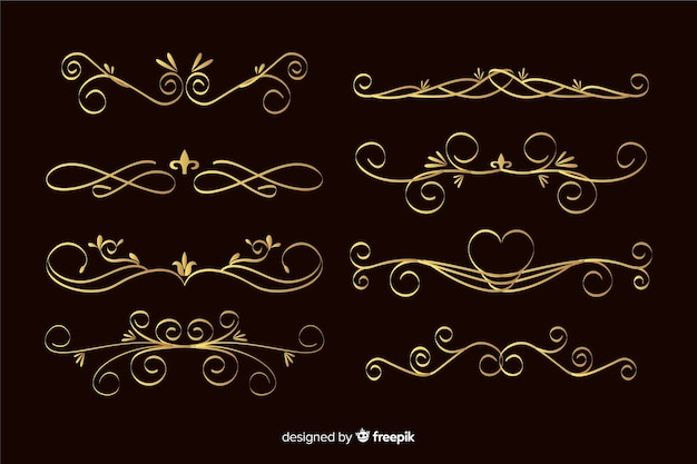 Golden ornament frame collection Free Vector