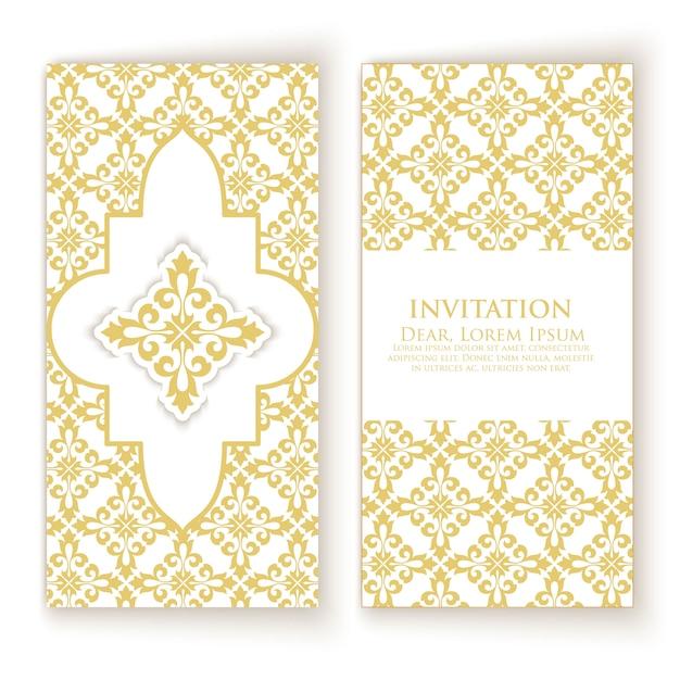 Golden ornament invitation template Free Vector