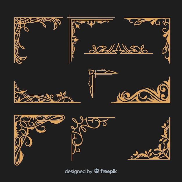 黄金の装飾的なボーダーコレクション 無料ベクター