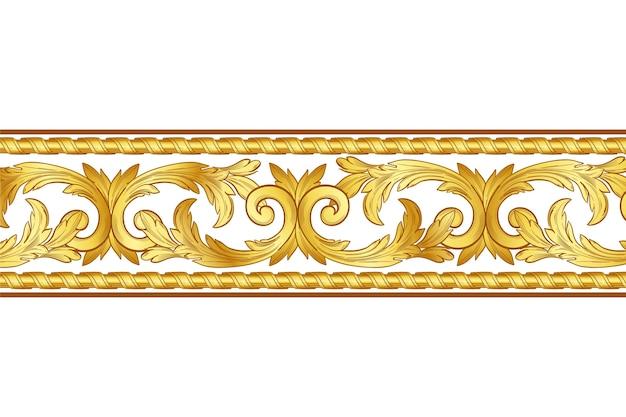 Golden ornamental border style Free Vector