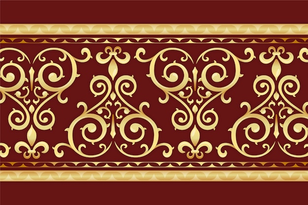 Golden ornamental border with red background Free Vector
