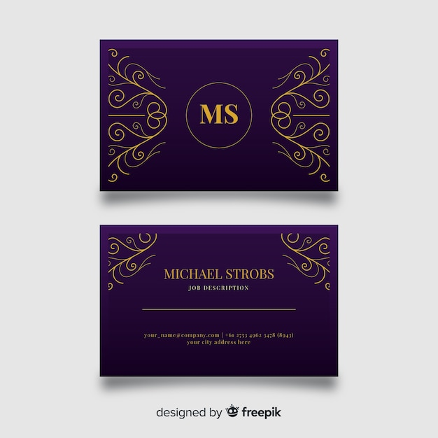 Golden ornamental business card template Free Vector