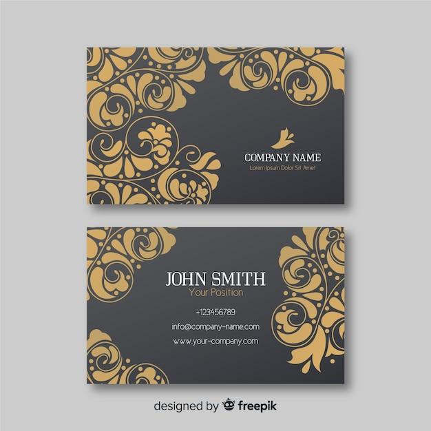 Golden ornamental business card template Free Vector