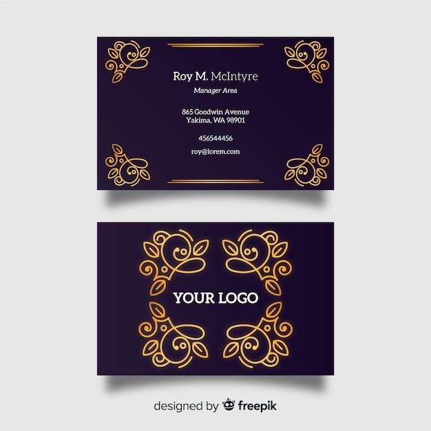 Golden ornamental business card Free Vector
