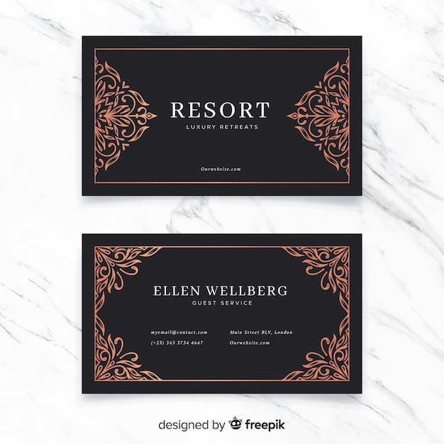 Golden ornamental business card Free Vector