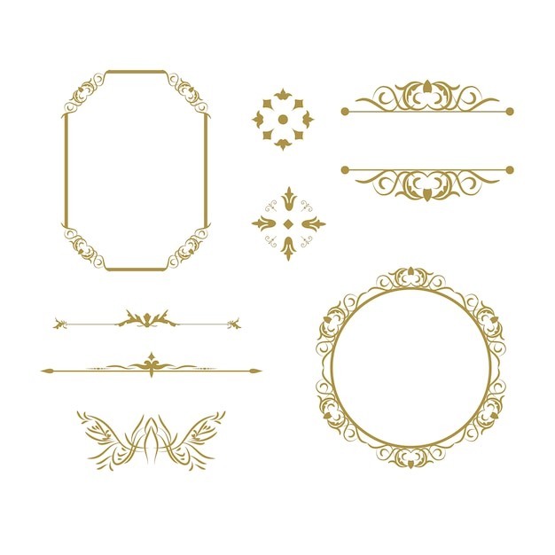 Golden ornamental elements collection Free Vector