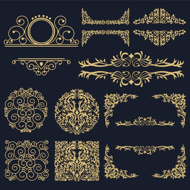 Golden ornamental elements collection Premium Vector