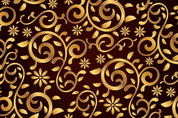 Золотой декоративный цветочный фон Premium векторы