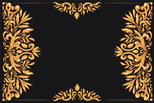 Golden ornamental floral background Free Vector