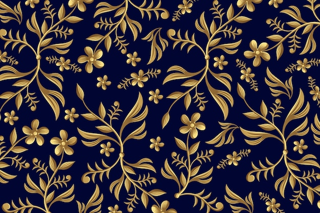 Golden ornamental floral backgrounf Free Vector