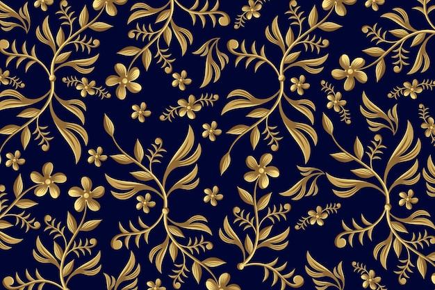 Backgrounf floreale ornamentale dorato Vettore gratuito