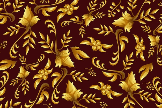 Golden ornamental floral wallpaper concept Free Vector