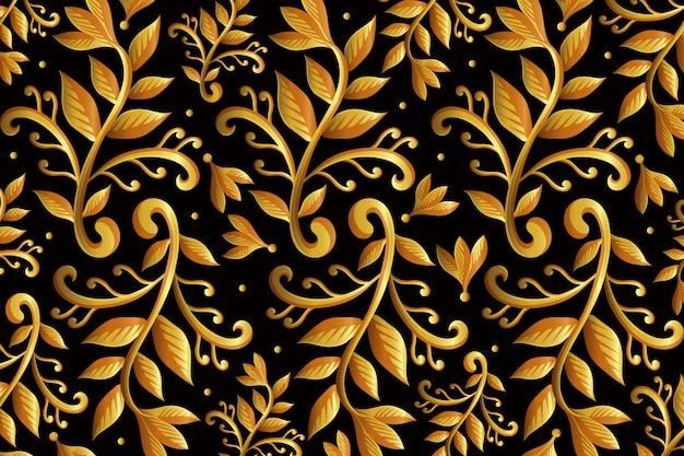 Golden ornamental floral wallpaper Free Vector