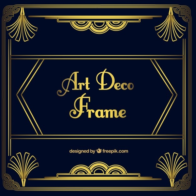 Golden Ornamental Frame In Art Deco Style Vector Free Download