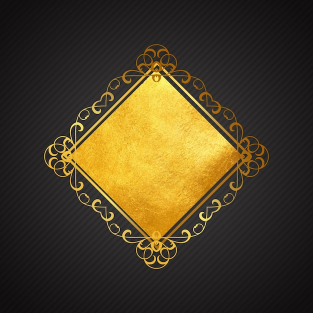 84ed700e45d3 Golden ornamental frame on a black background Free Vector
