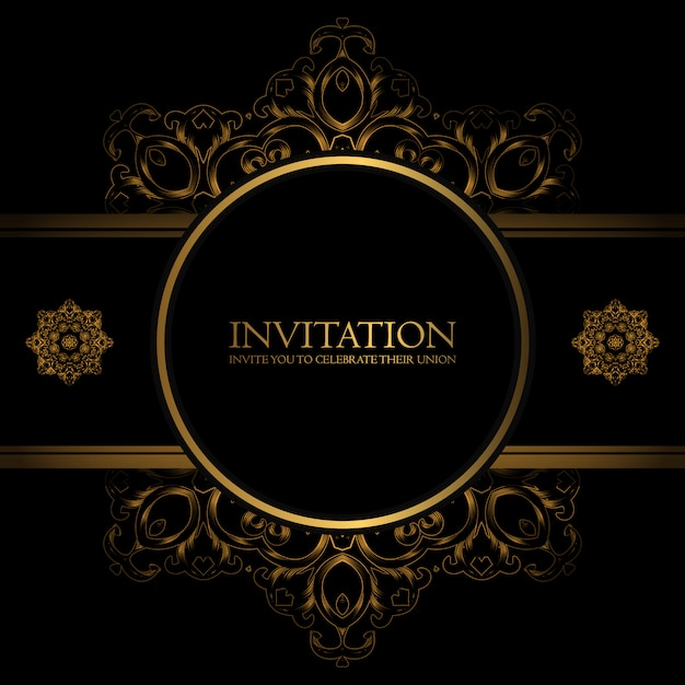 golden ornamental invitation template vector free download