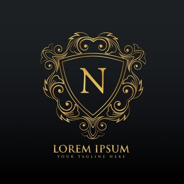 Golden ornamental logo with the letter n Free Vector