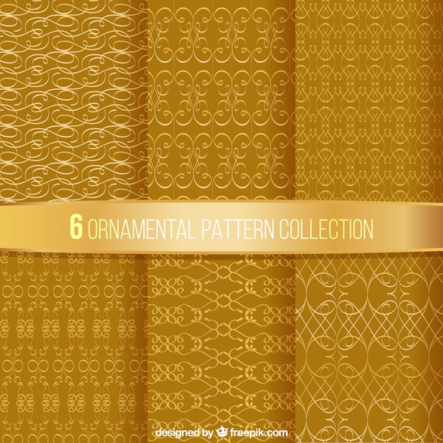 Golden ornamental pattern collection Free Vector