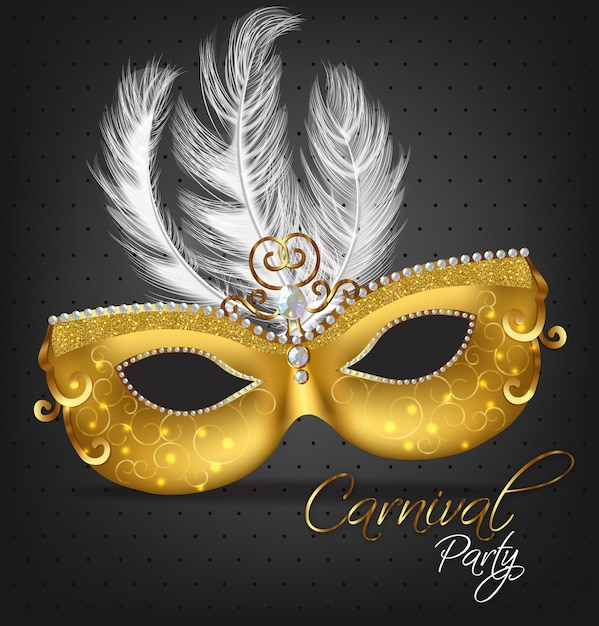 Golden ornamented mask with feathers Premium Vector