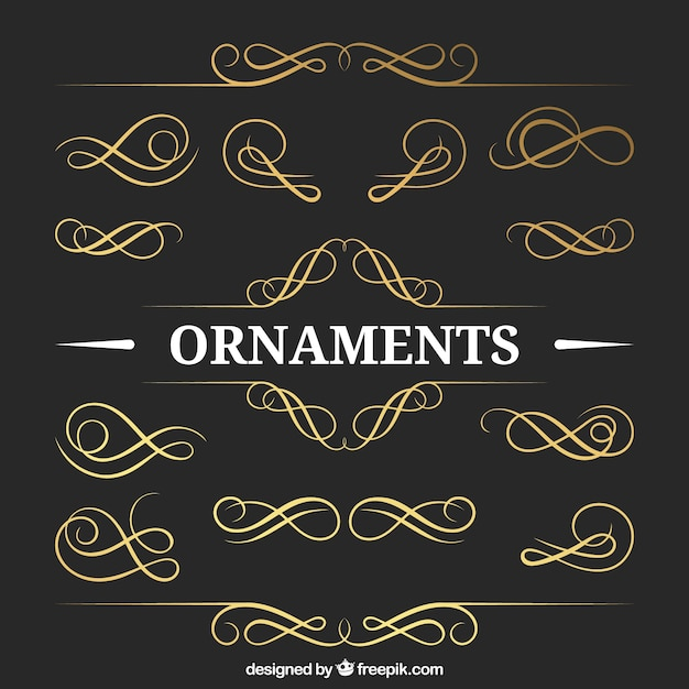 Golden ornaments pack Free Vector