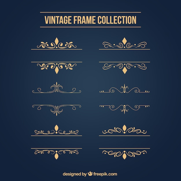 Golden ornaments set  Free Vector