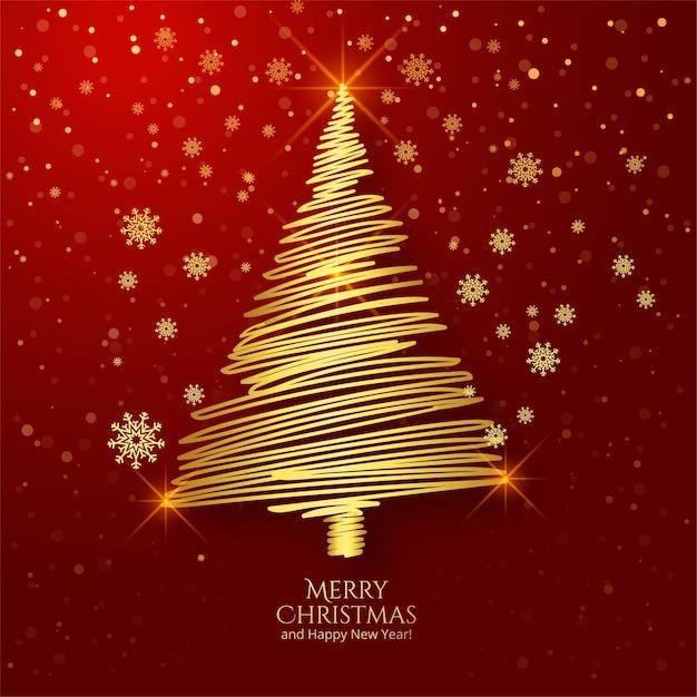 ゴールデンアウトラインクリスマスツリーグリーティングカードの背景 無料ベクター