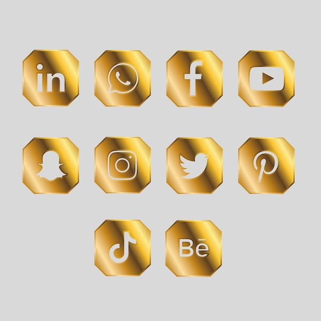 Golden pack of social media icons Free Vector