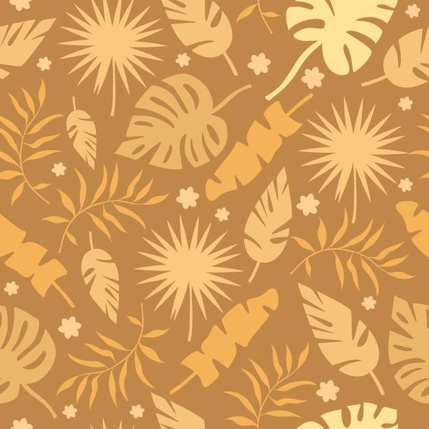 Modello di foglie di palma d'oro Vettore gratuito