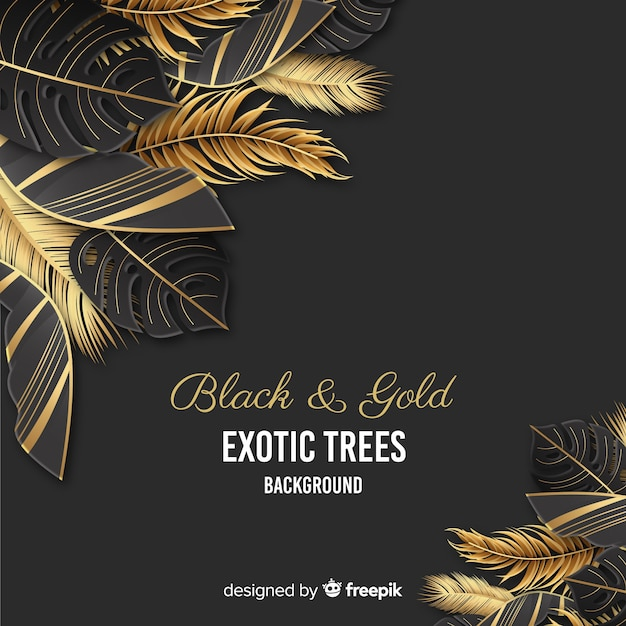 Golden palm leaves wedding invitation Free Vector