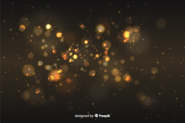 Golden particles background bokeh style Free Vector
