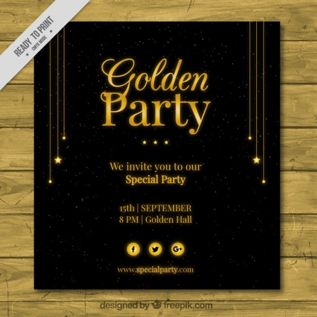 Golden Party Invitation Vector Free Download